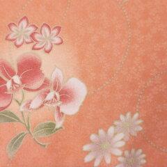 着物レンタル春秋冬用レディース袷小紋袋帯セット「Sサイズ」オレンジ・橙・胡蝶蘭(送料無料)の画像3