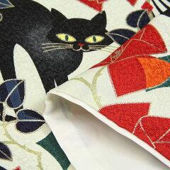 着物レンタルトールサイズパーティー・街歩き・撮影・展示会・衣装「XLサイズ」白・黒ネコ着物+袋帯セットワンタッチ着物和装レンタルの画像5