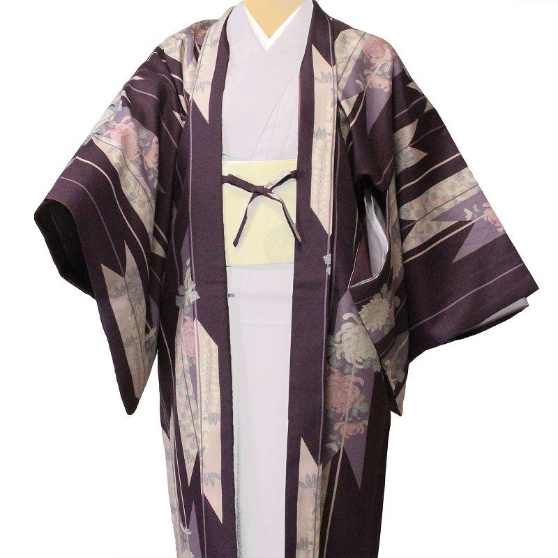 【レンタル】羽織 レンタル(女性用・レディース)「フリーサイズ/Fサイズ」紫・矢絣(着物・はおりレンタルオプション) (c708)