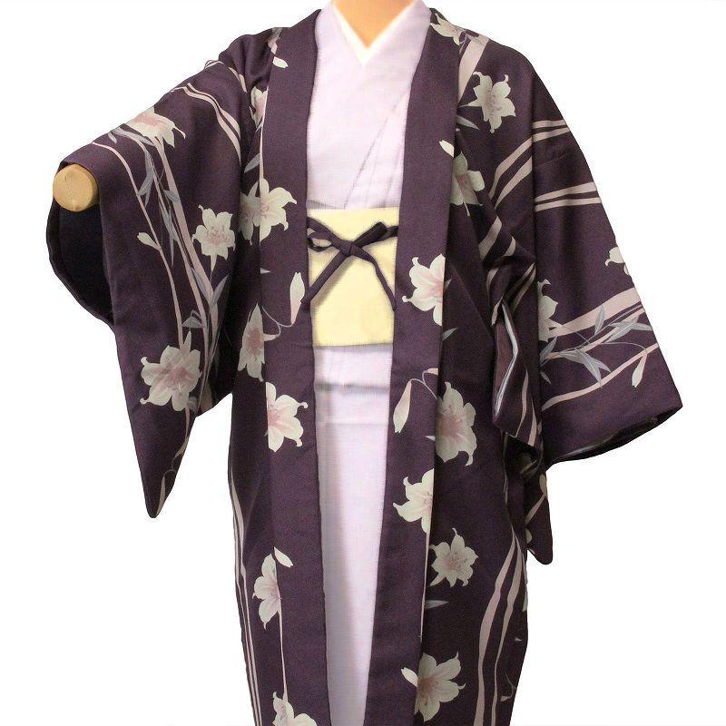 【レンタル】羽織 レンタル(女性用・レディース)「フリーサイズ/Fサイズ」紫・ユリ(着物・はおりレンタルオプション) (c711)