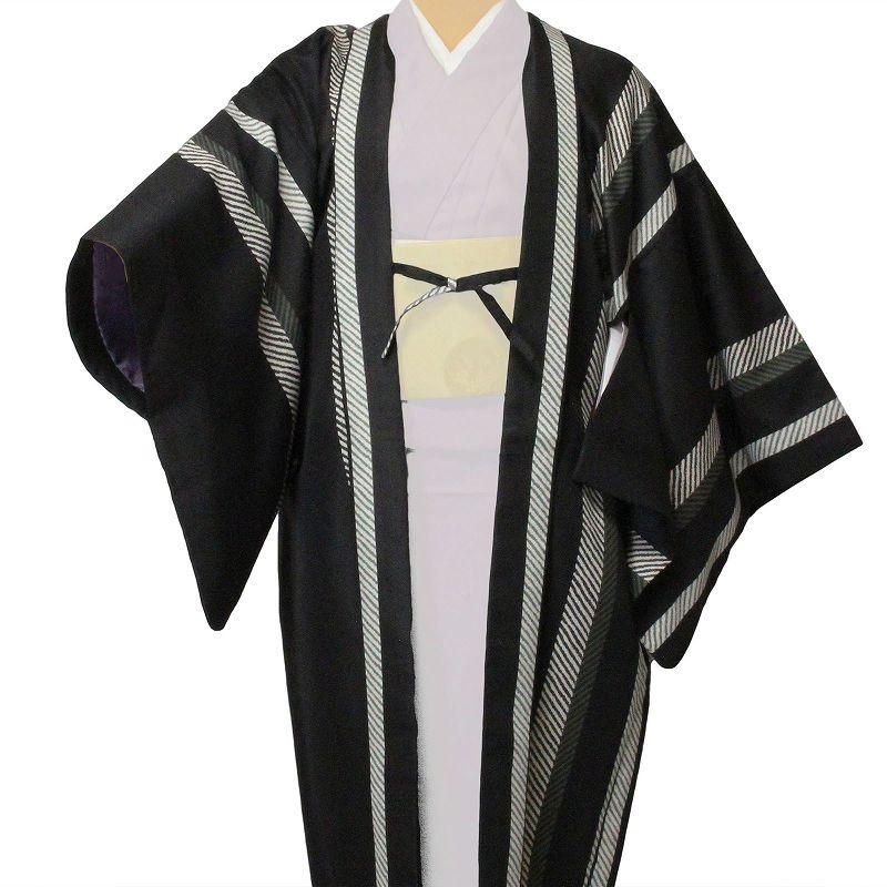 【レンタル】羽織 レンタル(女性用・レディース)「フリーサイズ/Fサイズ」黒・縦縞(着物・はおりレンタルオプション) (c724)