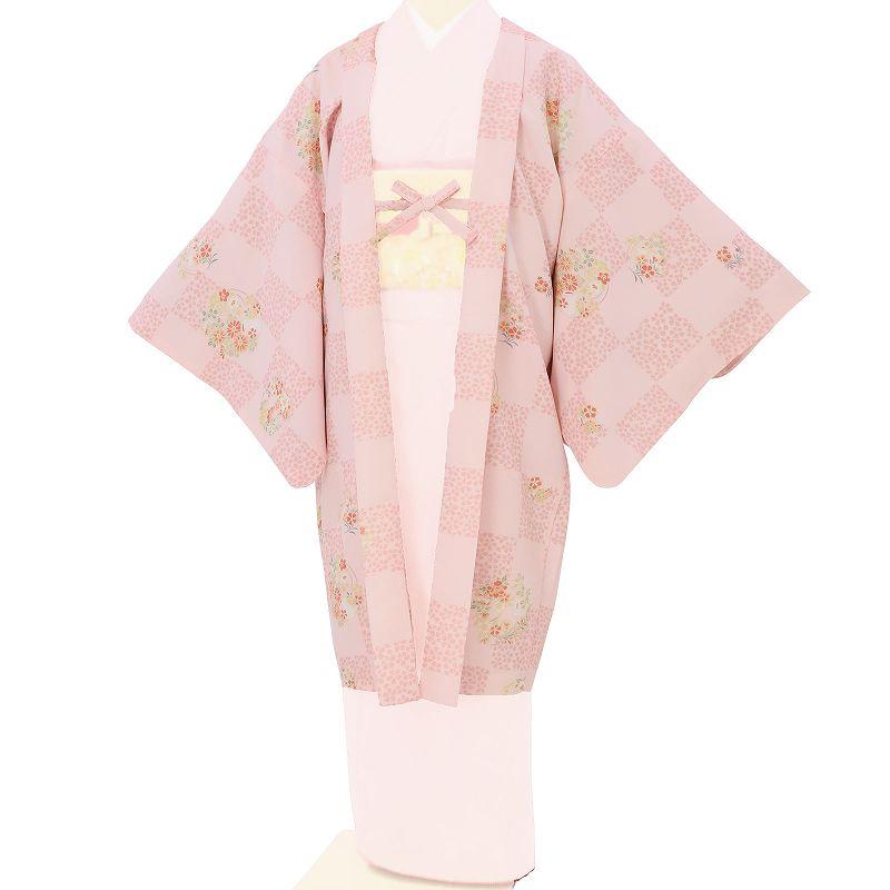 【レンタル】羽織 レンタル オプション ピンク・市松花輪文 フリーサイズ (c728)