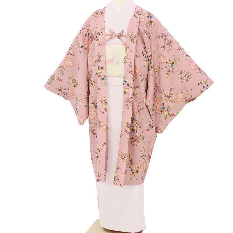 【レンタル】羽織 レンタル オプション ピンク・野草花文 フリーサイズ (c730)