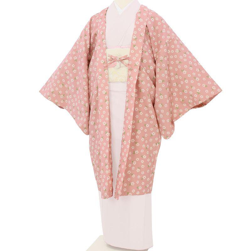 【レンタル】羽織 レンタル オプション ピンク・小花文 フリーサイズ (c732)