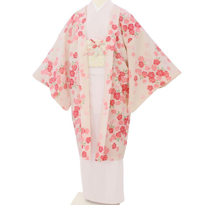 【レンタル】羽織 レンタル オプション 白・サクラ文 フリーサイズ (c733)