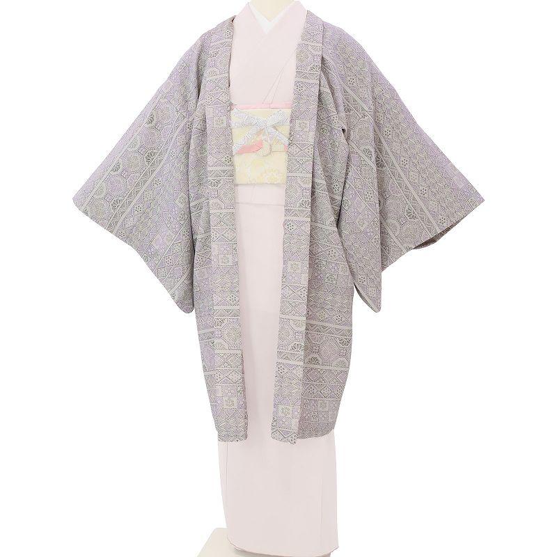 【レンタル】羽織 レンタル オプション 淡グレー・横段伝統文 フリーサイズ (c738)