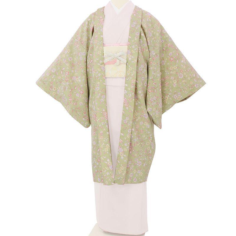 【レンタル】羽織 レンタル オプション 淡若草色・草花文 フリーサイズ (c739)