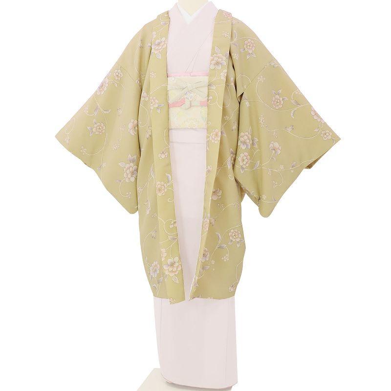【レンタル】羽織 レンタル オプション 薄抹茶色・唐草花文 フリーサイズ (c740)