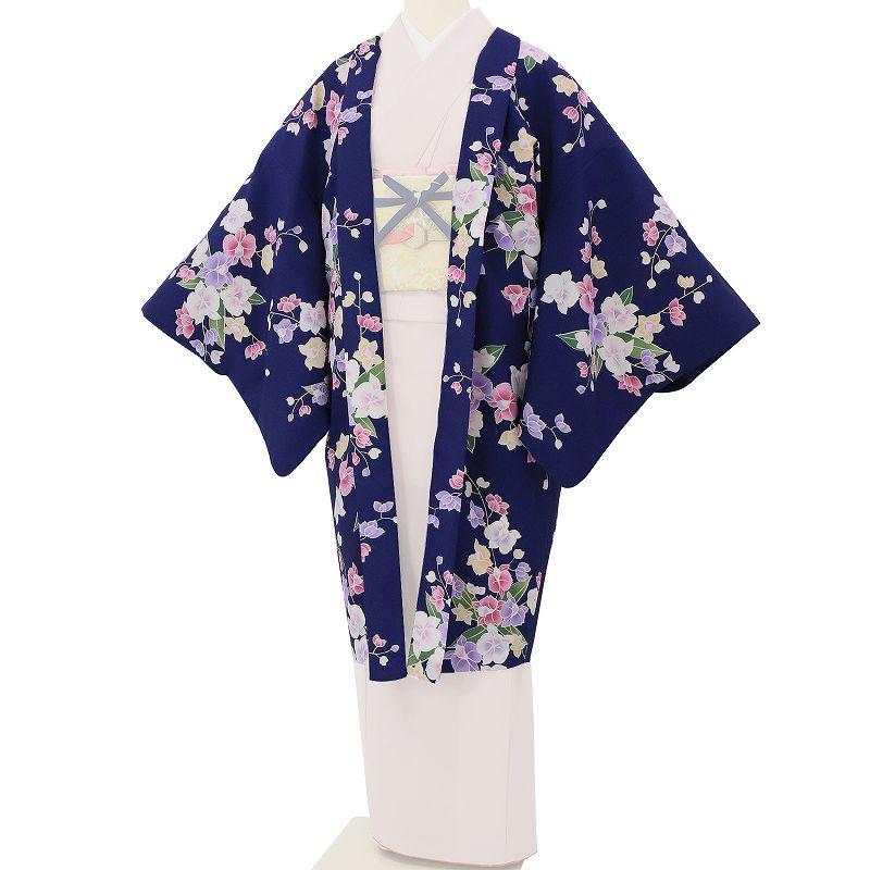 【レンタル】羽織 レンタル オプション 紺色・りんどう文 フリーサイズ (c742)