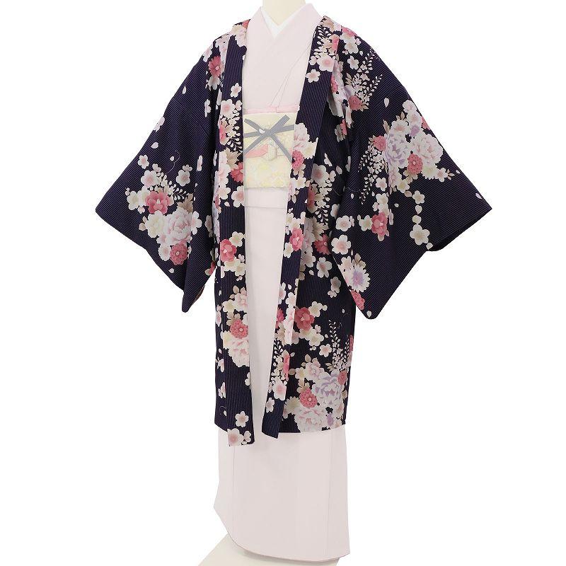 【レンタル】羽織 レンタル オプション 紺紫色・縦縞牡丹文 フリーサイズ (c744)