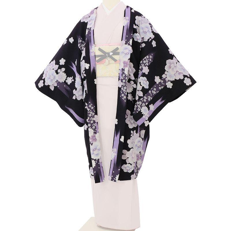 【レンタル】羽織 レンタル オプション 濃紫色・刷毛目椿文 フリーサイズ (c745)