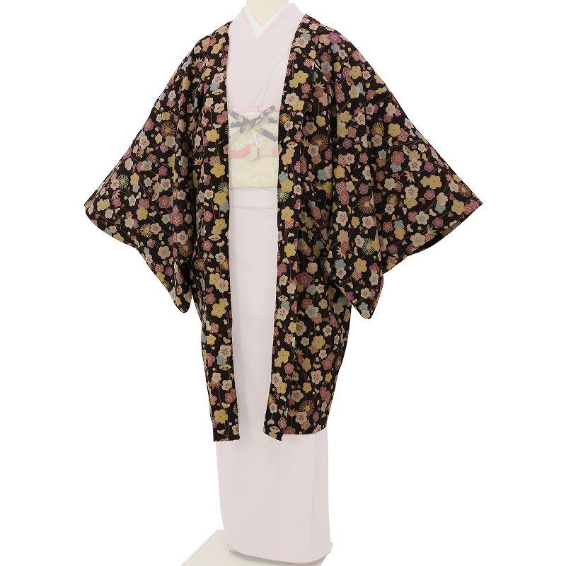 【レンタル】羽織 レンタル オプション 茶色・小花尽くし文 フリーサイズ (c746)
