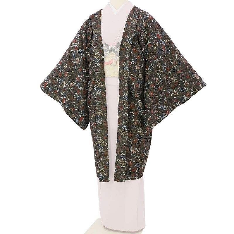 【レンタル】羽織 レンタル オプション 濃グレー・唐花文 フリーサイズ (c747)