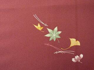 〔着物レンタル〕単衣ハイグレードレンタル(初夏・初秋用/女性用レディース単衣)「Sサイズ」赤・秋草の画像3
