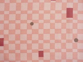 宅配レンタル単衣着物セット「XLサイズ」ピンク・チェック柄(初夏・初秋用/女性用レディース単衣)の画像3