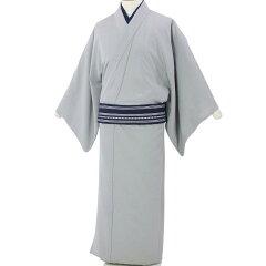 着物レンタル男メンズ「Lサイズ」薄緑・薄グレー紬(初夏初秋用/単衣)和服の画像2