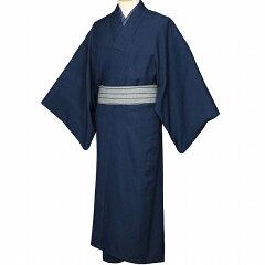 夏着物レンタル男メンズ夏物紗「Lサイズ」紺・白グレー羽織付き(なつもの)の画像2