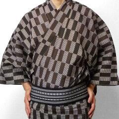 〔浴衣レンタル〕ゆかたレンタル(男物浴衣セット)「XLサイズ」茶・市松(夏用/男性用メンズ)の画像