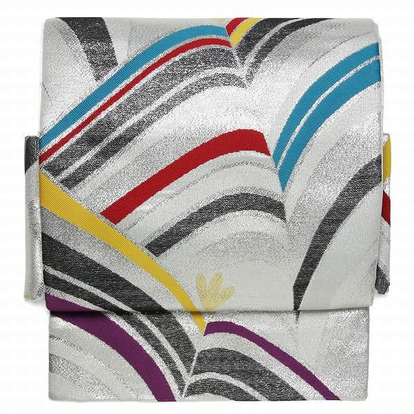 【レンタル】袋帯 レンタル アップグレード 白・波縞 2部式 文化帯 付け帯(カジュアル向け 簡単 ワンタッチ帯)