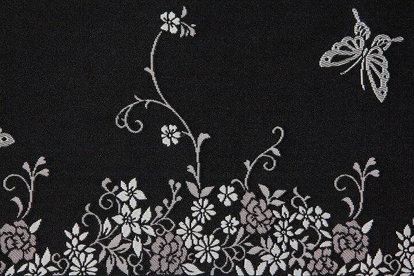 【レンタル】半幅帯 レンタル 黒・蝶〔お好きな帯を選べる変更オプション〕(春秋冬用/女性用)【返却送料無料】