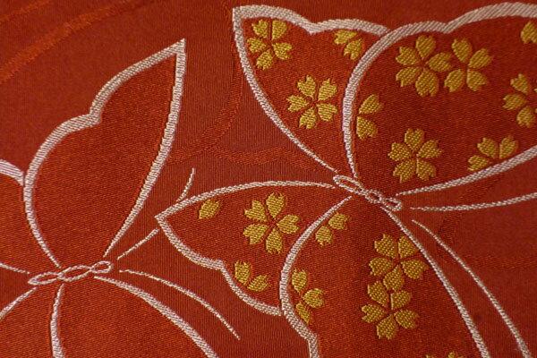 【レンタル】半幅帯(春秋冬用/女性用)赤・朱色蝶々〔お好きな帯を選べる変更オプション〕【返却送料無料】