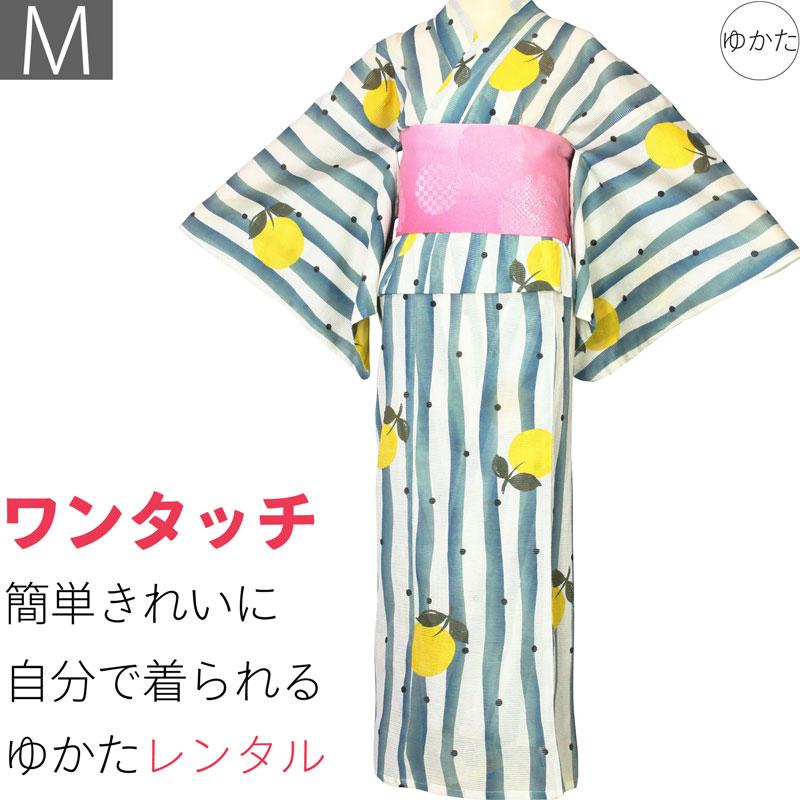 【レンタル】浴衣 レンタル/ゆかた レンタル 浴衣 セット 「Mサイズ」絽 白 緑 ストライプ 甘夏 (5202)