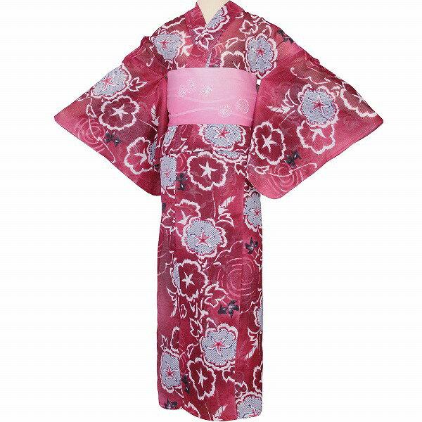 【レンタル】浴衣 レンタル/ゆかた レンタル 浴衣 セット 「Sサイズ」絽 赤 朝顔 絞り調 (5207)