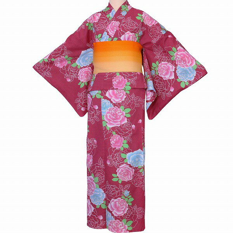 【レンタル】浴衣 レンタル/浴衣 セット 「Lサイズ」赤 バラ レトロ 夏祭り 花火大会 (5211)