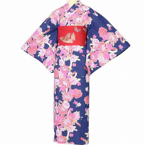 【レンタル】浴衣 レンタル/浴衣 セット 「Lサイズ」紺 ピンクの牡丹 花火大会 (5217)