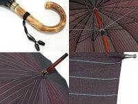 おしゃれで丈夫なストライプ柄ジャガード16本骨雨傘(レッドブラウン)/前原光栄商店製紳士用