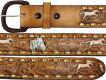 ウエスタンレザーベルト★馬の彫刻と銀のコンチョ(ブラウン)牛本革