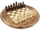 芸術的な彫刻入り象嵌円形ボードの手作り木製チェスセット:Artemis(アルテミス)直径35cm盤駒ポーランド製