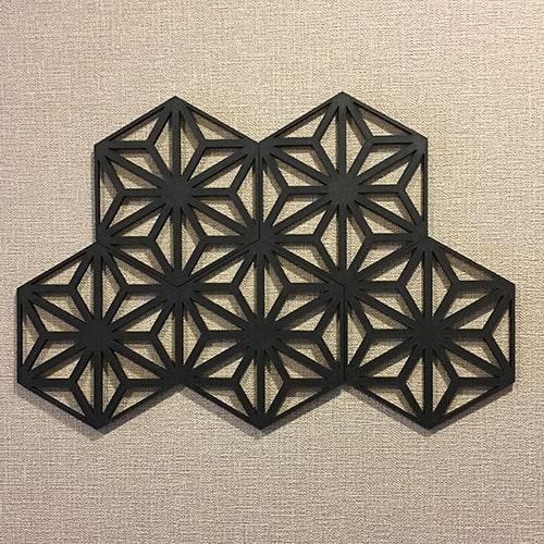 【ウォールデコ 和風 麻の葉 ブラック 5枚組】木製 レリーフ 日本文様が縁起良い 和モダン 和風 インテリア 立体 壁飾り 組子調 装飾 ディスプレイ