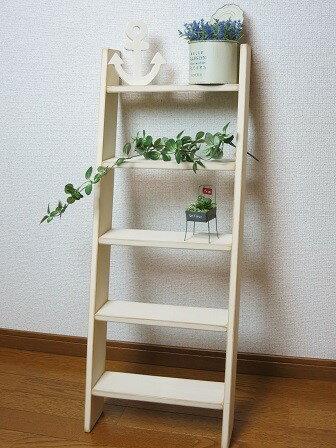 ラダーシェルフ5段*ディスプレイラック・花台に はしご型の飾り棚