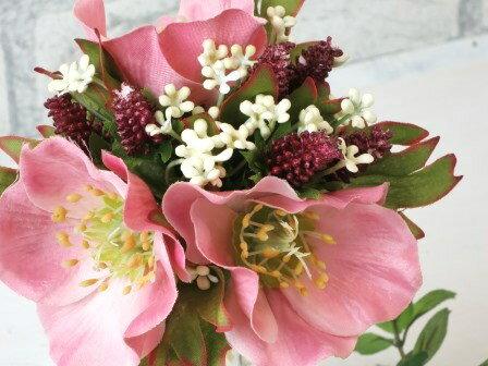 【クリスマスローズの花束】造花クリスマスローズの花束秋色のローズ