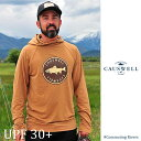 CAUSWELL / コウズウェル Simple Fish Stamp Long Sleeve Hooded (Tobacco) ロングスリーブフーディー UVカット UPF30