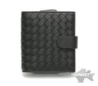 ボッテガヴェネタイントレチャート二つ折り財布121059V001Nブラックレザー【新品同様】1700623
