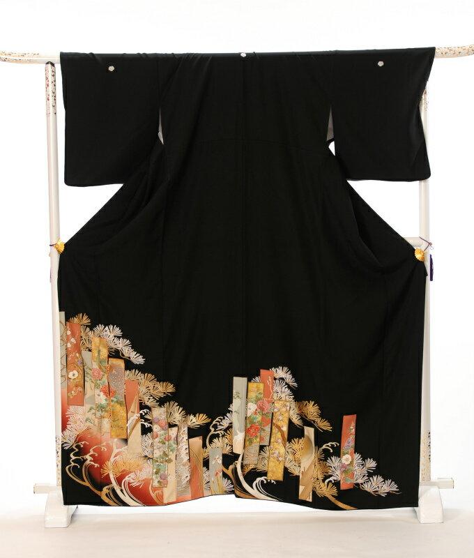 【レンタル】 留袖レンタル 黒留袖フルセットレンタル レンタル留袖 着物レンタル 留袖 レンタル とめそで 着物 結婚式 貸衣裳 女性和服 短冊 149cm〜169cm位まで 足袋・肌着プレゼント 往復送料無料 8AA16