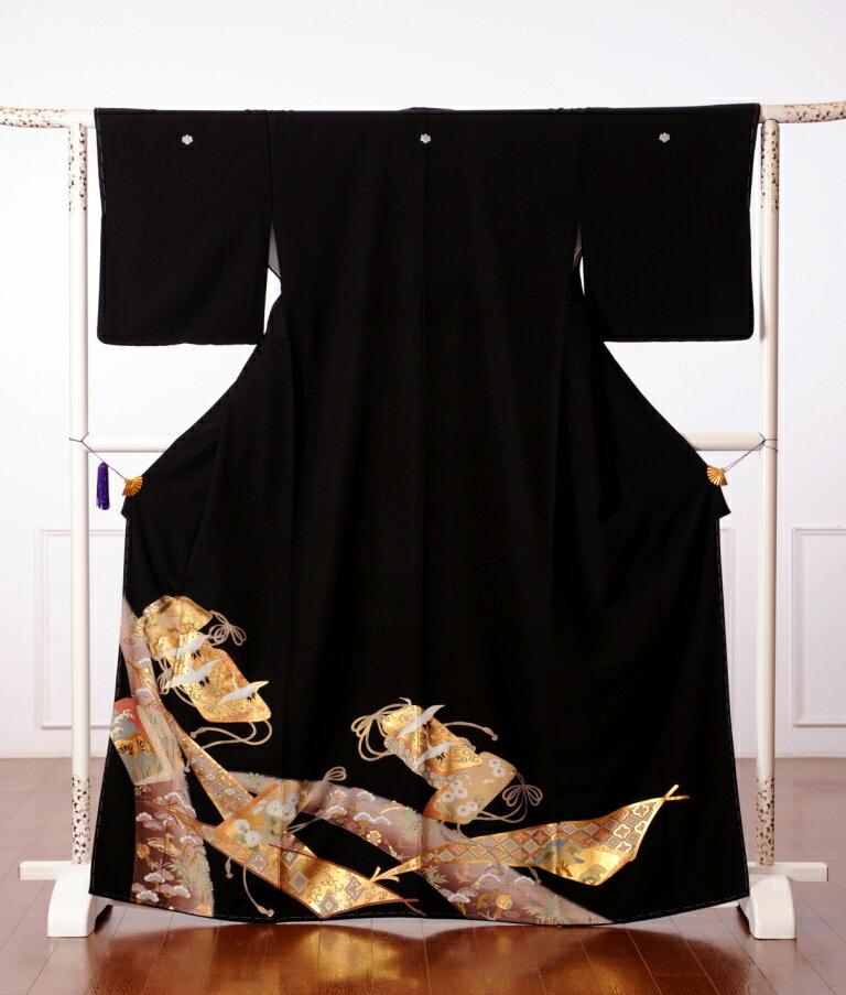 【レンタル】レンタル着物 留袖 レンタル 黒留袖レンタル フルセット 着物レンタル 江戸褄 結婚式 貸衣装 蒔絵箱 鶴 149cm〜167cm位まで 8AA36