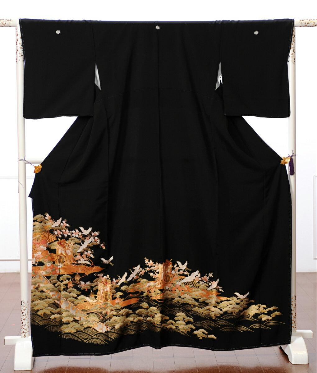 留袖レンタル 留袖 着物レンタル レンタル着物 フルセット 黒留袖 着物 結婚式 貸衣装 女性和服 御所車 鶴149cm〜165cm位まで 足袋 肌着プレゼント 8AA43 留め袖 レンタル