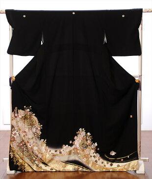 【レンタル】留袖 レンタル 黒留袖 着物レンタル 結婚式 花の訪れ 桂由美 150cm〜170cm位まで 足袋・肌着プレゼント レンタル着物 往復送料無料 8AA49