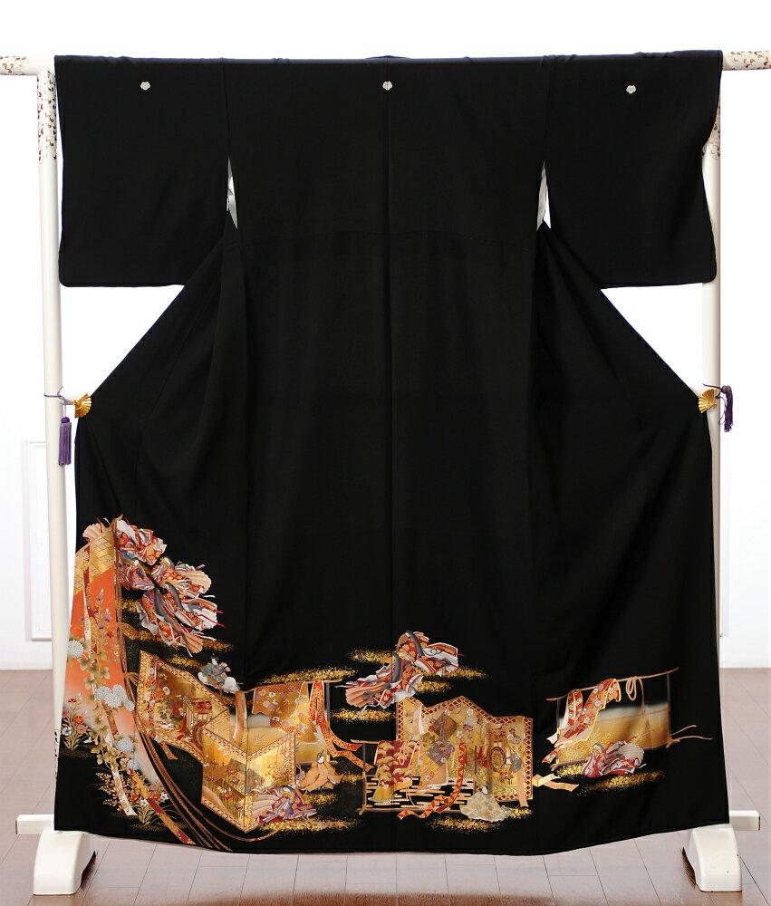 留袖 留袖レンタル 着物レンタル レンタル着物 黒留袖 フルセット 8AA54 結婚式 貸衣装 着物 十二単 149cm〜169cm位まで 足袋 肌着プレゼント 留め袖 レンタル
