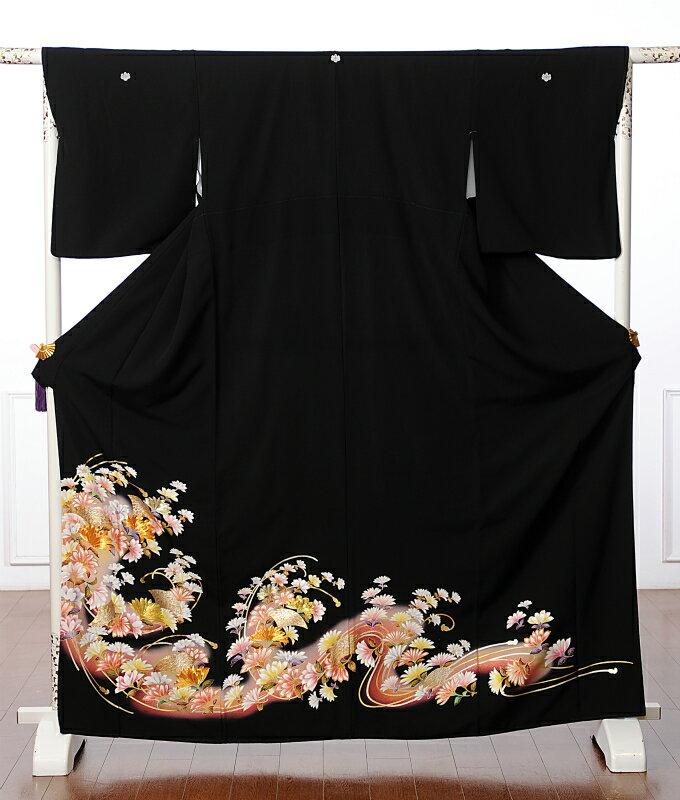【レンタル】黒留袖レンタルフルセット8AA11 レンタル留袖 着物レンタル 華やか 着物 結婚式 貸衣装 扇菊 149cm〜170cm位まで 足袋・肌着プレゼント 往復送料無料