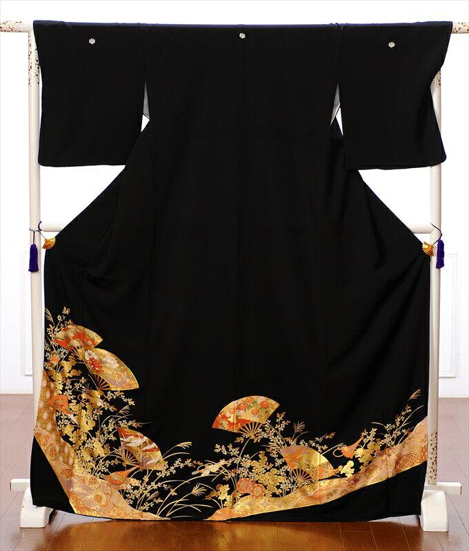 【レンタル】留袖 レンタル 黒留袖レンタルフルセット8AA77 レンタル留袖 着物レンタル 黒留袖 着物 結婚式 貸衣装 金彩 扇面 150cm〜170cm位まで 足袋・肌着プレゼント 往復送料無料