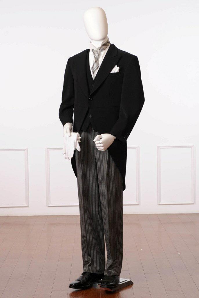 【レンタル】 留袖 & モーニングで合計金額より10%割引!!(ご注文後の適用となります) モーニングレンタル 8AX0001 レンタル11点セット モーニング レンタル 結婚式 貸衣装 父親 礼装 式典 格安 ウィングカラーシャツ ネクタイ