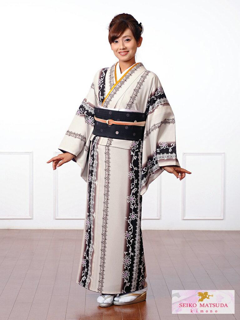 【レンタル】小紋レンタルフルセット8CT22SEIKO MATSUDA 小紋 レンタル 貸衣装 着物 オフホワイト レース・縞 149cm〜167cm位まで 足袋・肌着プレゼント 往復送料無料