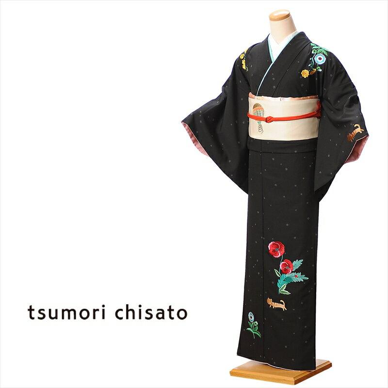 ツモリチサト tsumori chisato 訪問着 レンタル 着物 レンタル訪問着 貸衣装 黒 ブスネコ レンタルフルセット8AD82 149cm〜167cm位まで 足袋 肌着プレゼント