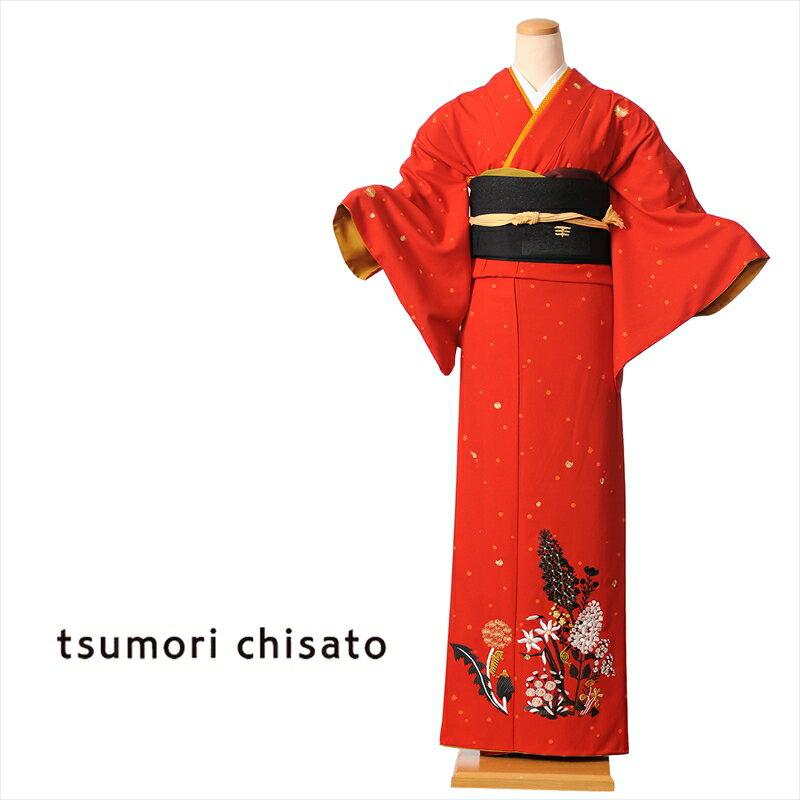 ツモリチサト tsumori chisato 訪問着 レンタル 着物レンタル レンタル着物 レンタル訪問着 着物 貸衣装 赤 ステッチフラワー 付下げ訪問着レンタルフルセット 149cm〜167cm位まで 足袋・肌着プレゼント 8AD78