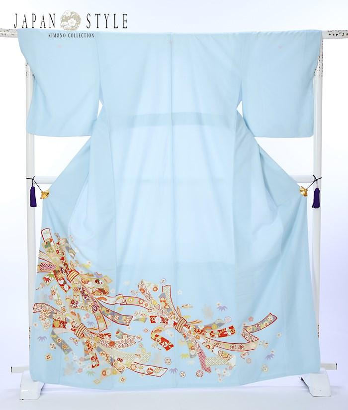 ジャパンスタイル 留袖 レンタル 留袖レンタル 色留袖 着物レンタル フルセット 8AB88 比翼仕立て 三つ紋 結婚式 貸衣装 レンタル着物 水色 束ね熨斗 149cm〜167cm位まで 足袋 肌着プレゼント 留め袖 レンタル