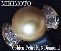 ミキモトゴールデンパールK18ダイヤモンドリング【楽オクハイジュエル】【質屋出店】【送料無料】